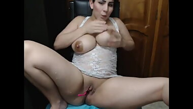 Huge tits drip milk on webcam and she masturbates with lactating tits