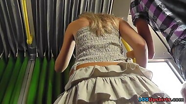 Girl, Upskirt in the bus – white Panties